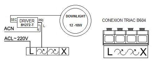 esquema conexión driver dimable para downlights