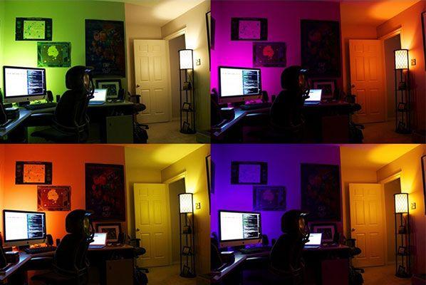 sala iluminada con bombillas led rgb en diferentes colores