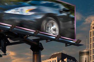 cartel publicitario de carretera iluminado con led