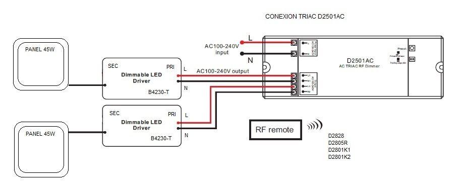 esquema de conexión de los paneles led regulables