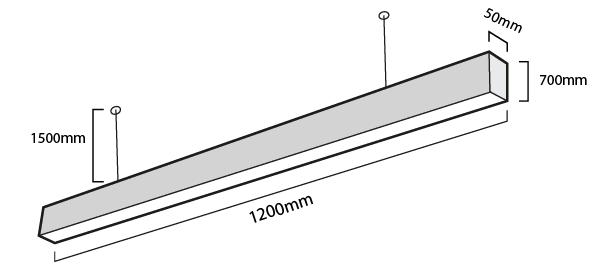 esquema de la barra lineal led
