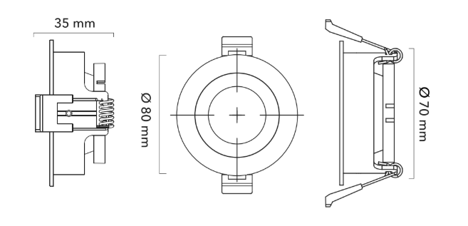 dimensions support gu10 anti-blouissement