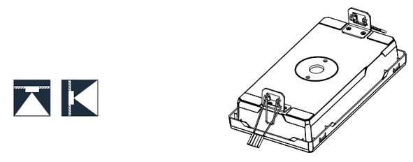 esquema o boceto de las grapas en luminaria evacuación LED