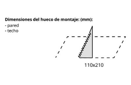 medidas de corte de la luminaria de emergencia EXIT S de Awex