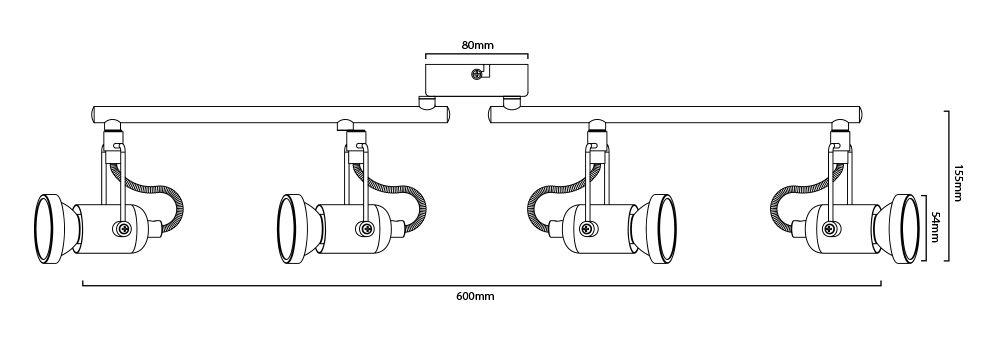 Plafonnier 4 spots dimensions
