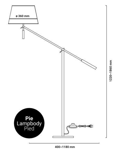 lampe sur pied Arm2 dimensions