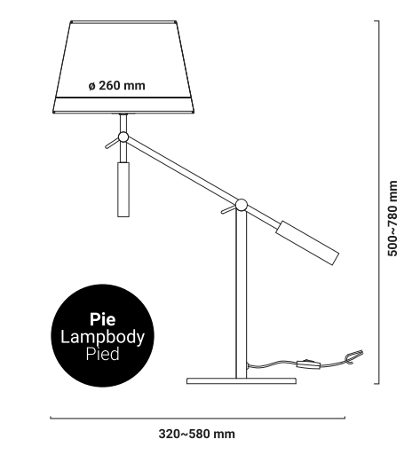 Lampe de table bras articulé arm dimensions
