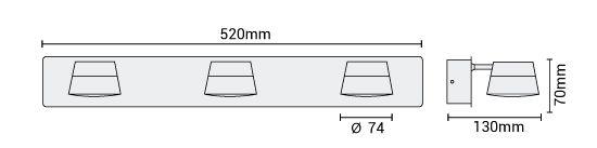 Applique LED Samba triple dimensions