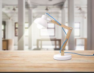 Lampe de bureau bois métal corde