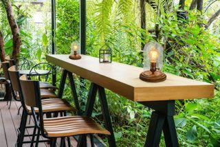 Lampe de table bois verre