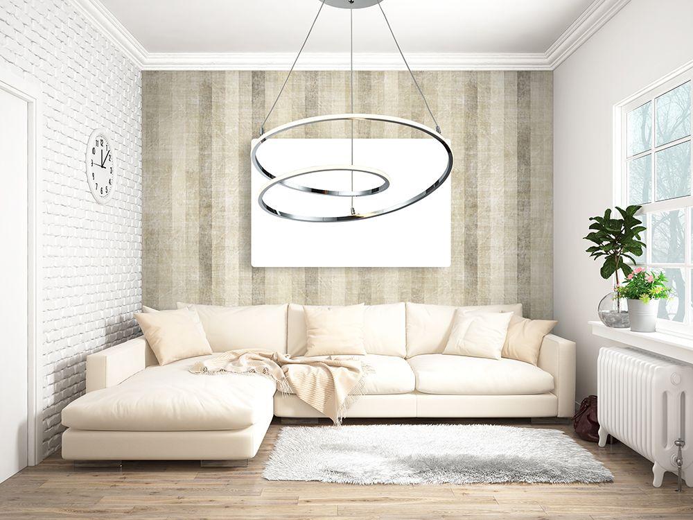 lampe suspendue métal chromé salon