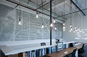 éclairage bureaux cables textiles décoratifs