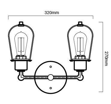 esquema de las medidas de la lámpara merlo