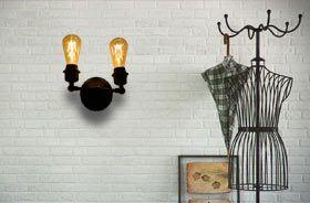 Applique murale rétro vintage 2 ampoules