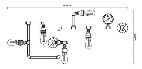 esquema de la lampara copper con las medidas