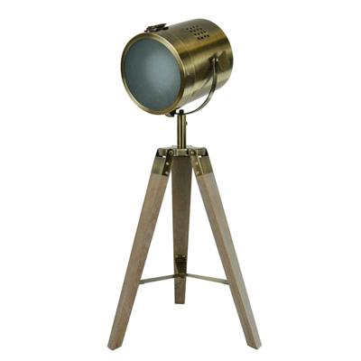 luminaire trépieds bois bronze E27