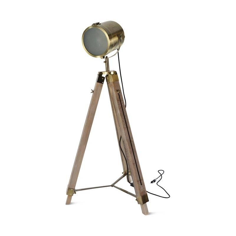 grand trépied lampe bronze bois E27