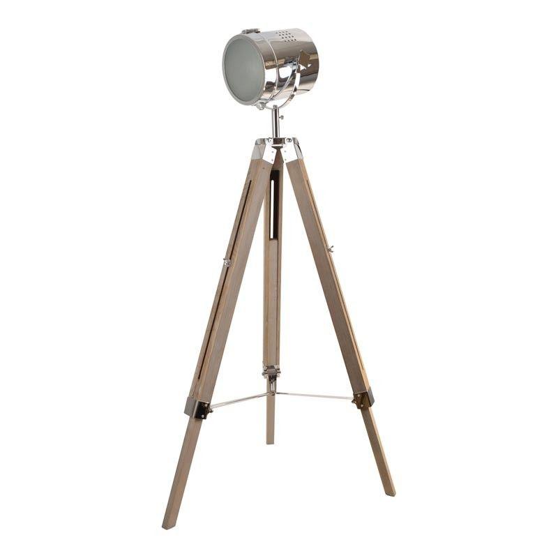 lampara vintage tripode madera cromada 120cm