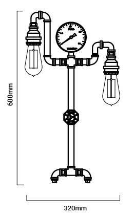 dimensions lampe de table copper