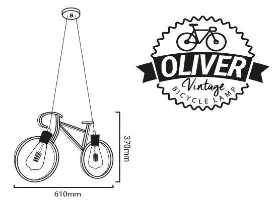 medidas y etiqueta de la lámpara en forma de bicicleta oliver