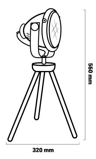 Luminaire trépied dimensions