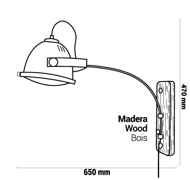 Lampe murale vanderro cuivré dimensions