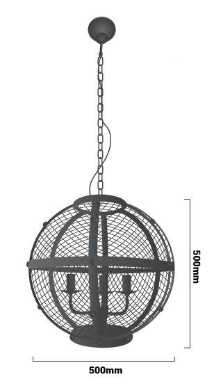 Medidas de la lámpara de techo vintage