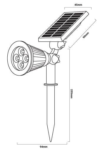 dimensions spot solaire jardin