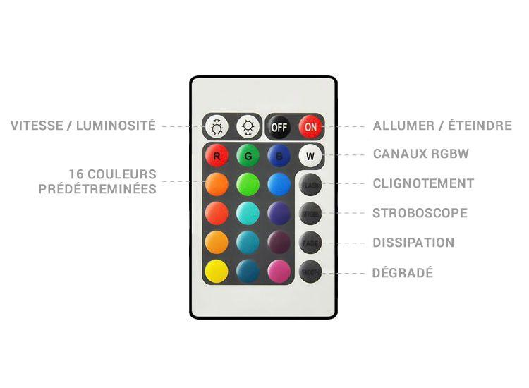 telecommande vase lumineux LED RGB 5W 40cm